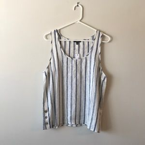 DREW blue and white striped tank top